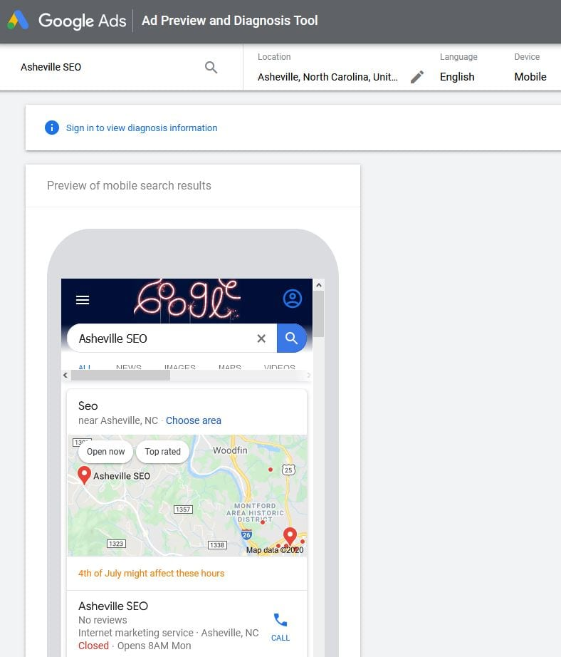 Google Ad Preview and Diagnostics Tool Mobile View