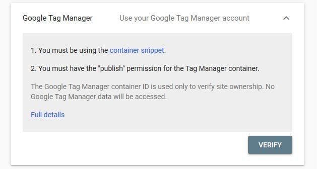 Search Consoel Verify with Google Tag Manager